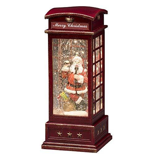 """Konstsmide, 4363-550, LED \""""Telefonzelle mit Weihnachtsmann\"""", wassergefüllt, 5h Timer, warm weiße Diode, batteriebetrieben, Innen"""