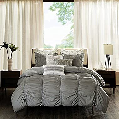 Bed Linens. This Essential Three-piece Set, Home Bedding For Bedroom Furniture Includes Two Shams And A Comforter. Elegance, Comfortable Machine Washable Kit. (King/California King, Gray)