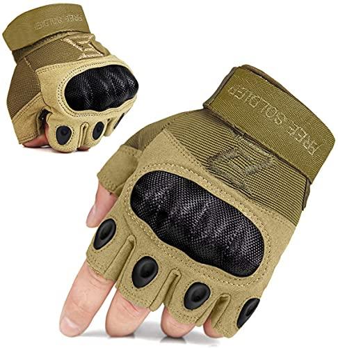 FREE SOLDIER Sport Handschuhe Herren Taktische Trainings Motorradhandschuhe Kletter Tactical Handschuhe Fingerlose Halbfinger Handschuhe geeignet für Wandern Klettern Fahradfahren usw(XL,Sand-Farbe)