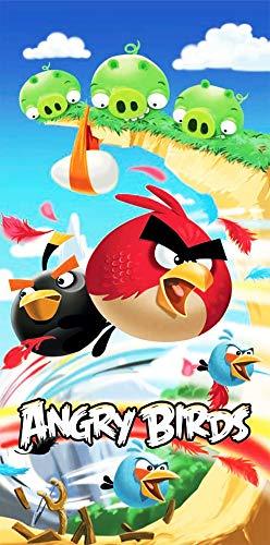 Angry Birds - Toalla de baño (75 x 150 cm, 100% algodón, terciopelo), diseño de Angry Birds Para ropa de cama.