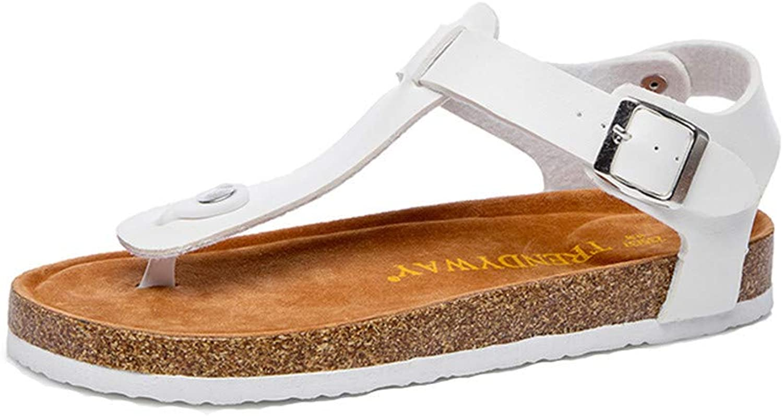 Women Roman Sandals Leather Cork Sole Sandals Anti-Slip Buckle Flip Flops Sandals Casual Summer Beach shoes for Women & Girls