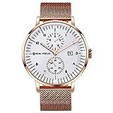 MHCYKJ Reloj de cuarzo clásico para hombre, correa de malla ultra fina, impermeable, calendario, color dorado