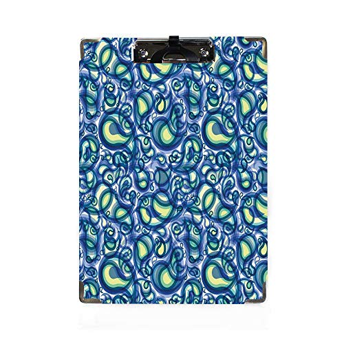 Paisley Letter Size Clipboard,Ethnic Ocean Waves Like Design with Big and Small Raindrops Inspired Artwork Decorative Paper Holder,Personalized Office Gift for Coaches,Teachers,Medical,Student,Doctors