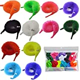 60 Pcs Magic Twisty Worm Wiggly Twisty Fuzzy Worms on a String Magic Worm Toys for Party Supplies,12 Colors…