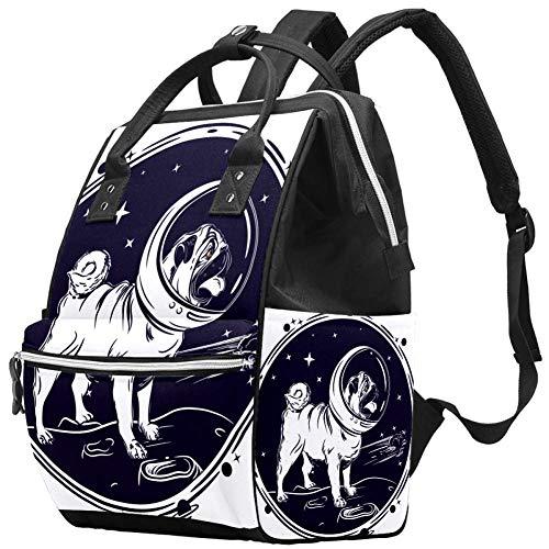 Mops im Helm des Astronauten Windel Wickeltasche Windelrucksack mit isolierten Taschen Kinderwagengurte, große Kapazität Multifunktionale stilvolle Wickeltasche für Mama Papa im Freien