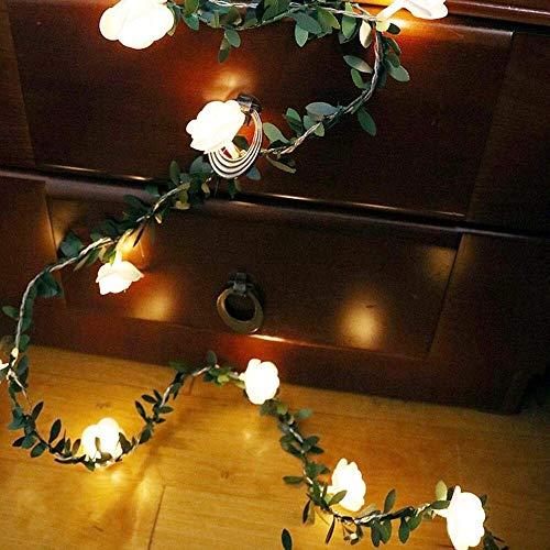 Fried Maravilloso 10/20 / 40leds Rose Vid de la Flor de Cuerda Luces LED Verde de la Hoja de decoración de Navidad Garland for la Boda del Partido de jardín Decoración Luminaria Cortina