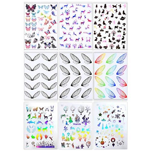 9pcs x autocollantes Strass Résine formes clair strass