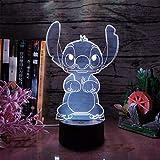 Linda dibujos animados puntada 3D noche luz 16 colores LED lámpara USB táctil remoto habitación dormitorio mesa niños regalo de Navidad