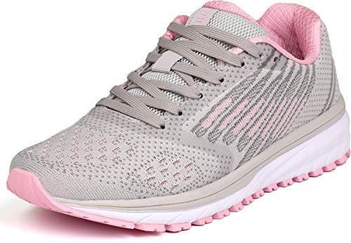 WHITIN Laufschuhe Damen Sportschuhe Straßenlaufschuhe Hallenschuhe Frauen Sneakers Joggingschuhe Fitnessstudio Turnschuhe Fitnessschuhe Grau Rosa Größe 36