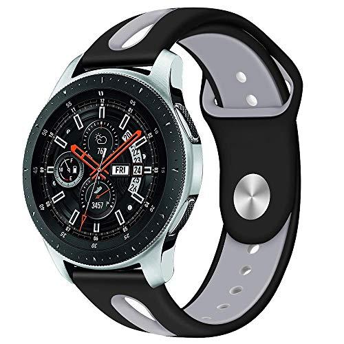 Pulseira de Borracha para Samsung Gear S3 Frontier - Gear S3 Classic - Galaxy Watch 46mm - Marca Ltimports (Preto com Cinza)