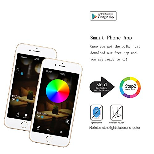 SHYU Bluetooth Smart LED Light Bulb-E26 Base 6000K Smartphone Controlled Dimmable Color Changing Lights-40 Watt Equivalent