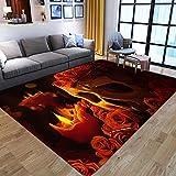 CQIIKJ Alfombra Impresa Vela Amarilla Naranja Rosa Flor Calavera Alfombra Antideslizante Lavables 160 x 230 cm Alfombras Dormitorio salón alfombras alfombras de habitación.