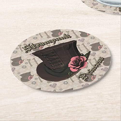 Posavasos para bebidas, base de corcho, diseño de princesas steampunk y rosas, juego de 4 posavasos redondos para el hogar y la cocina, divertido regalo para el hogar, regalos de Navidad