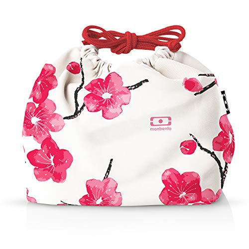 monbento - MB Pochette Graphic Blossom Lunch bag rouge - Sac bento Polyester - Idéal pour les lunch box MB Original MB Square & MB Tresor