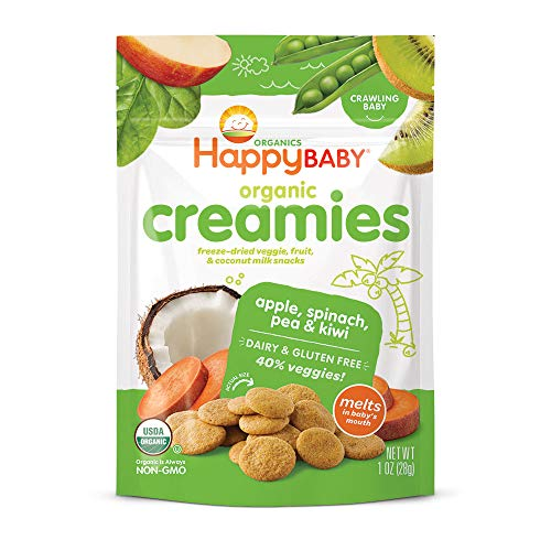 Happy Baby Organics Creamies Freeze-Dried Veggie & Fruit Snacks with Coconut Milk, Apple Spinach Pea & Kiwi, 1 Ounce (Pack of 8)
