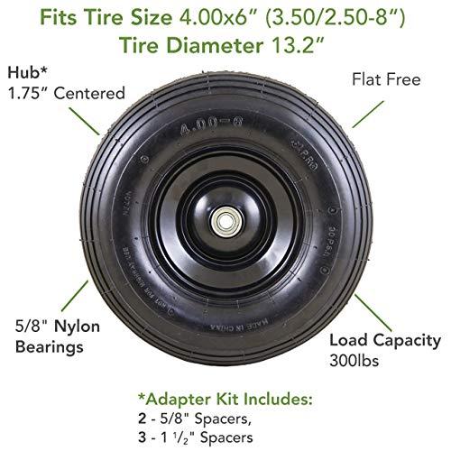 Marathon 00296 Easy Fit 4.00-6 Flat-Free Wheel Assembly for Residential Wheelbarrow, Black