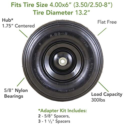 Marathon 00296 Easy Fit 4.00-6 Flat-Free Wheel Assembly for Residential Wheelbarrow, Black