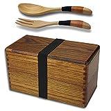 AOOSY Lunchbox,Bento Box Meal Natürliche Holz Double Layer japanischen Stil Lebensmittel Obst Kinder & Erwachsene Sushi Sandwich Container für Reisen Schule Camping (mit Gabel Löffel Kit)