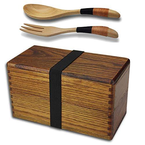 AOOSY Lunch Box Bento Box Fiambrera Japonesa tradicional de madera natural caja de almuerzo doble alimentos frutas Sushi Sandwich Container escuela de viaje para Camping (con tenedor cuchara Kit)