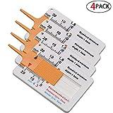 4 Stücke Reifenprofiltiefenmesser, Profiltiefenmesser,Digitale Reifenprofiltiefe Messbereich 0-20mm, Einstellbare Profiltiefe Messwerkzeug für Motorradfächer (Orange)