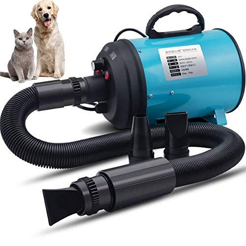 WAFOR Expulsor secador 2200W Secador De Pelo para Mascotas, Secador De BláSter para Perros con Temperatura Manguera Flexible De 3 M Negro