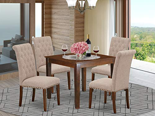 5Pc Dining Set Includes a Square Dinette Table and Four Parson Chairs with Light Fawn Fabric, Mahogany Finish
