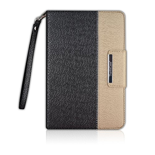 Thankscase Case for iPad Mini 5 2019 / iPad Mini 4 2015, Rotating Case Leather Cover with Pencil Holder, Swivel Case Build-in Hand Strap, Wallet Pocket, Smart Cover for iPad Mini 5th Gen (Black Gold)