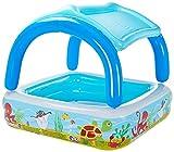 BESTWAY 52192 - Piscina Hinchable Infantil con Parasol Canopy 147x147x122 cm Multicolor con Animales Marinos 265 Litros Para Niños y Niñas Mayores de 2 Años