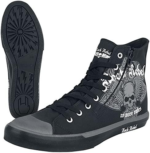 Rock Rebel by EMP Walk The Line Unisexe Baskets hautes noir EU41, Tissu,