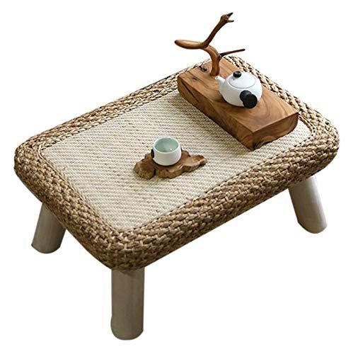 Mesa de ceremonia de té de mesa de té de mesa baja Escritorio de computadora para altura de tatami, café zhuo ratán hierba mesa de ventana elegante corto rectangular pequeña mesa sólido madera pequeño