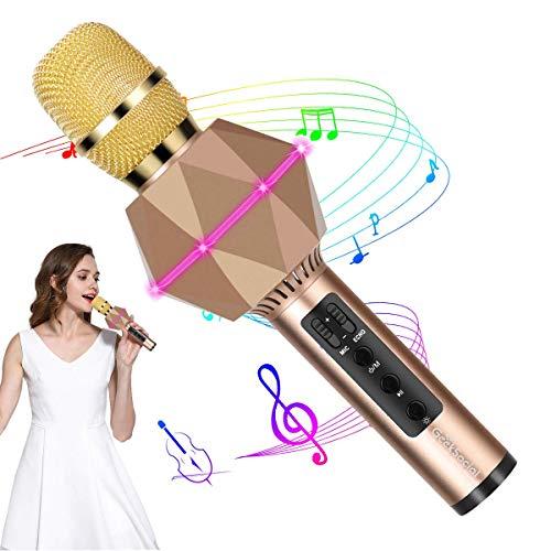 Micrófono Karaoke Bluetooth Inalámbrico en Forma de Diamante con Luces LED de 7 Colores Altavoz Karaoke de Canto Portátil de Niños para KTV Hogar Fiesta Exterior Móviles iPhone Android -Oro