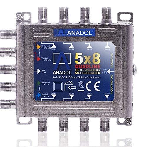 [ Test SEHR GUT *] Anadol Quadline Multischalter 5/8 für 8 Teilnehmer - digitaler Multischalter für Satellit mit Quad oder Quattro LNB kombinierbar - Eco Sat-Verteiler für HDTV- Multiswitch 5-8
