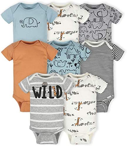 Gerber Baby 8 Pack Short Sleeve Onesies Bodysuits Jungle Blue 0 3 Months product image