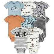 Gerber Baby 8-Pack Short Sleeve Onesies Bodysuits, Jungle Blue, 3-6 Months