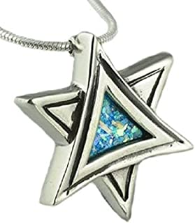 5c58ab539 Baltinester Jewish Jewelry Sterling Silver Unique Star of David Roman Glass  Necklace Pendant with Silver Chain