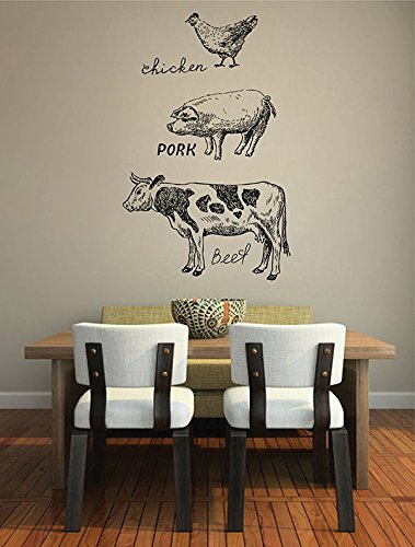 STICKERSFORLIFE ik2845 Wall Decal Sticker Cow Pig Chicken Meat Kitchen covid 19 (Animal Design Shop Stickers coronavirus)