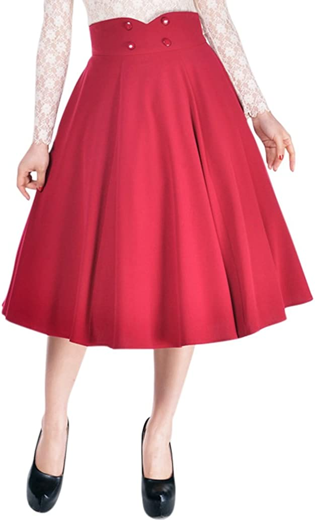 Plus Womens Pinup Lovely Office Lady High Waist Swing Full Circle Skirt