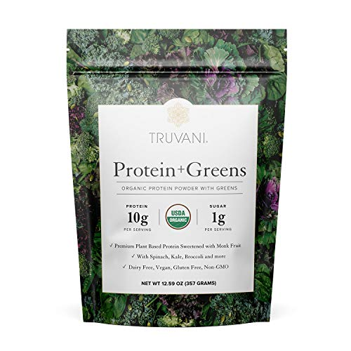 Truvani Protein + Greens | Organic, Non-GMO, Vegan, Gluten Free, Dairy Free | Daily Greens Combined with Protein | Great Taste with a Splash of Sweetness