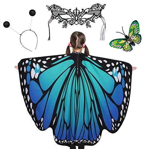 Tacobear Schmetterlingsflügel Kinder Verkleiden Flügel Mit Maske Glitzerkugel Stirnband Schmetterlingsring Schmetterlingflügel Halloween Kostüm Flügel Schmetterling Umhang Schal Mädchen (C)