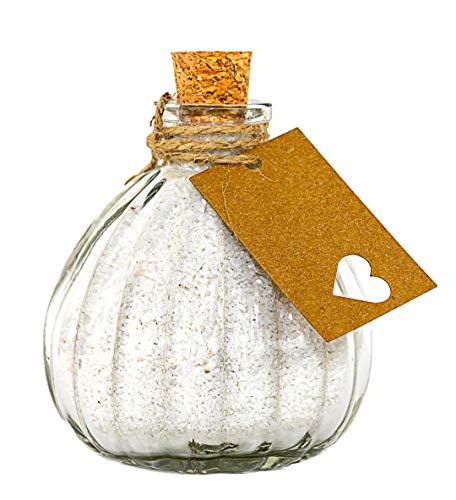 casavetro Lot de 12 Mini bocaux en Forme de Citrouille avec Motif cœur en Verre Transparent, Transparent, 12 x