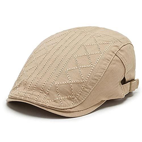 WQZYY&ASDCD Boinas Sombreros Gorras Sombrero De Moda para Hombre Boina Casual Al Aire Libre Sombrero Simple Street Hipster Fashion Cap-Khaki_Adjustable