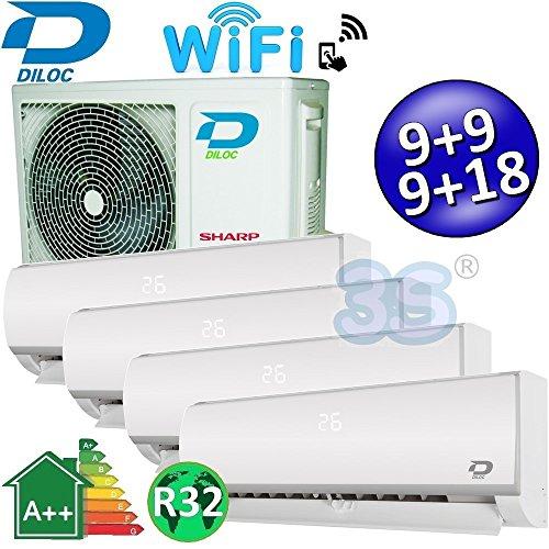 Climatizzatore inverter quadri split FROZEN R32 9000+9000+9000+18000 Btu DILOC classe A++/A+...