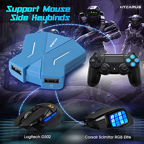 [2021 New Model] HYCARUS Keyboard and Mouse Adapter for Nintendo Switch/Xbox One/ PS4/ PS3, PS4 Keyboard Adapter & Xbox Keyboard Adapter. Perfect for Games Like FPS, TPS, RTS, etc. (HC-30050)