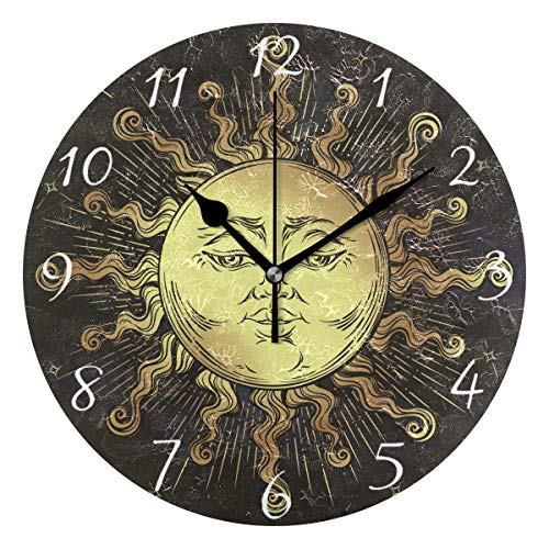 Ahomy Runde Wanduhr Boho Sonne Sterne Home Art Decor Antiticking Ziffern Uhr für Home Office
