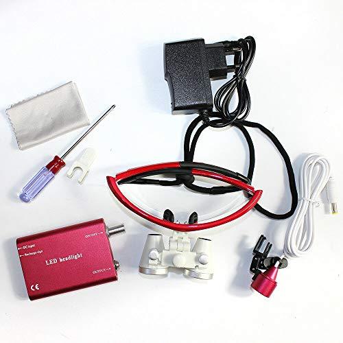 DiLiBee chirurgische binoculaire vergrootglas 3,5 x 420 mm optisch glas + LED-koplamp