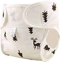 OUYAWEI Baby Cute Patterns Diaper Pants Cloth Diaper Washable Leak-proof Diapers Coffee, christmas tree, deer 80#