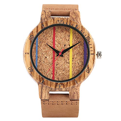 RWJFH Reloj de Madera Reloj de Pulsera de Cuarzo para Hombre de Moda, Reloj de Pulsera de líneas de Color de Madera de bambú Hecho a Mano para Hombre y Mujer