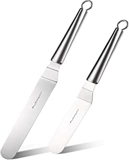 PUCKWAY Metal Icing Spatula, Angled Cake Spatula, Professional Stainless Steel Cake Decorating Spatula set of 2 Silver 6, 8 inch
