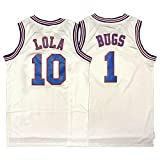 Space Jam Bugs#1 Bunny Lola Bunny#10 Tune Squad Movie Men's Basketball Jersey (Bugs#1 White, L)