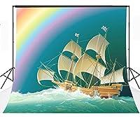 LYLY COUNTY 10×10フィート セーリングとレインボーテーマ 写真撮影背景布背景 スタジオ小道具 写真 LYGE210